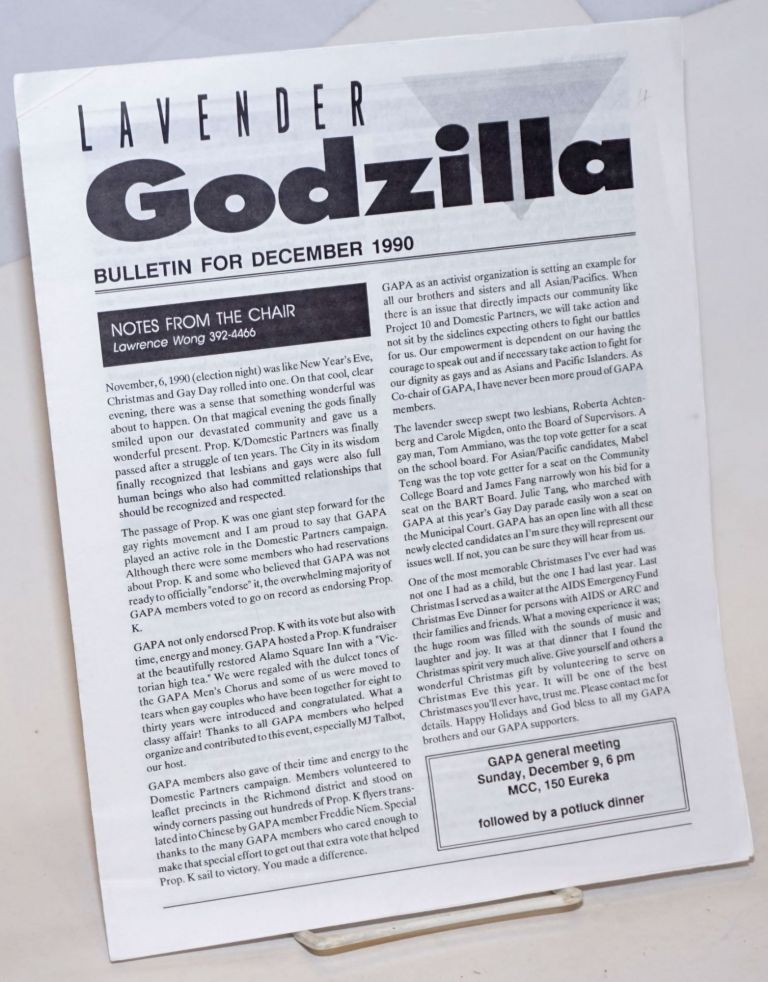 Lavender Godzilla Bulletin: (two issues). Gay Asian Pacific Alliance.