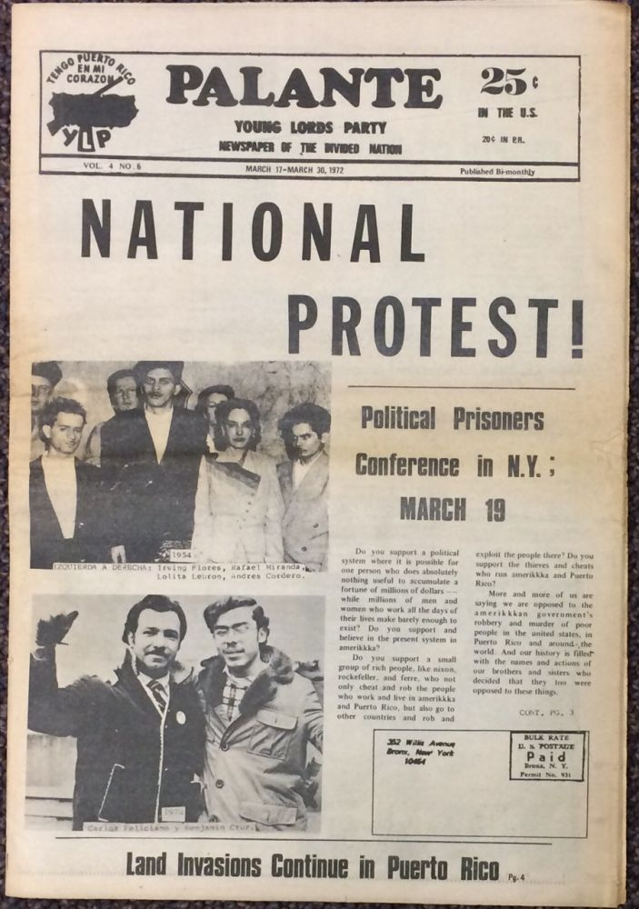 Palante; vol. 4 no. 6 (March 17-March 30, 1972). Young Lords Party.