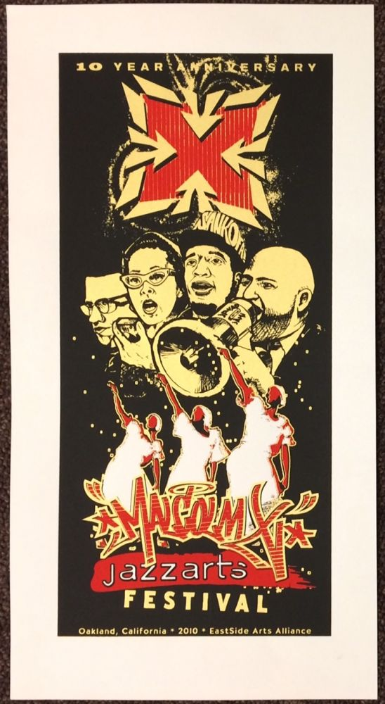 10 year anniversary / Malcolm X Jazzarts Festival [screenprint poster]. Eastside Arts Alliance.