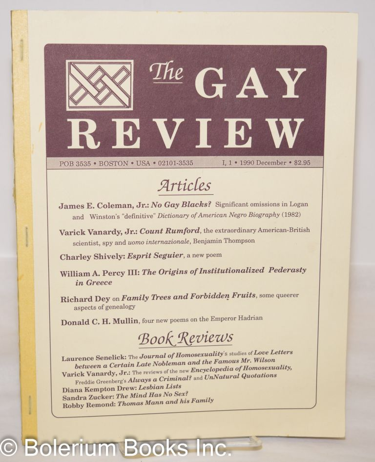 The Gay Review: vol. 1, #1, December, 1990. Richard Dey, Charley Shively James E. Coleman Jr.