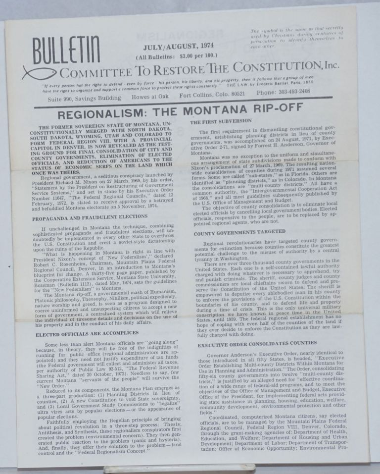 Bulletin, Committee to Restore the Constitution, Inc., July/August, 1974. Major Arch E. Roberts.