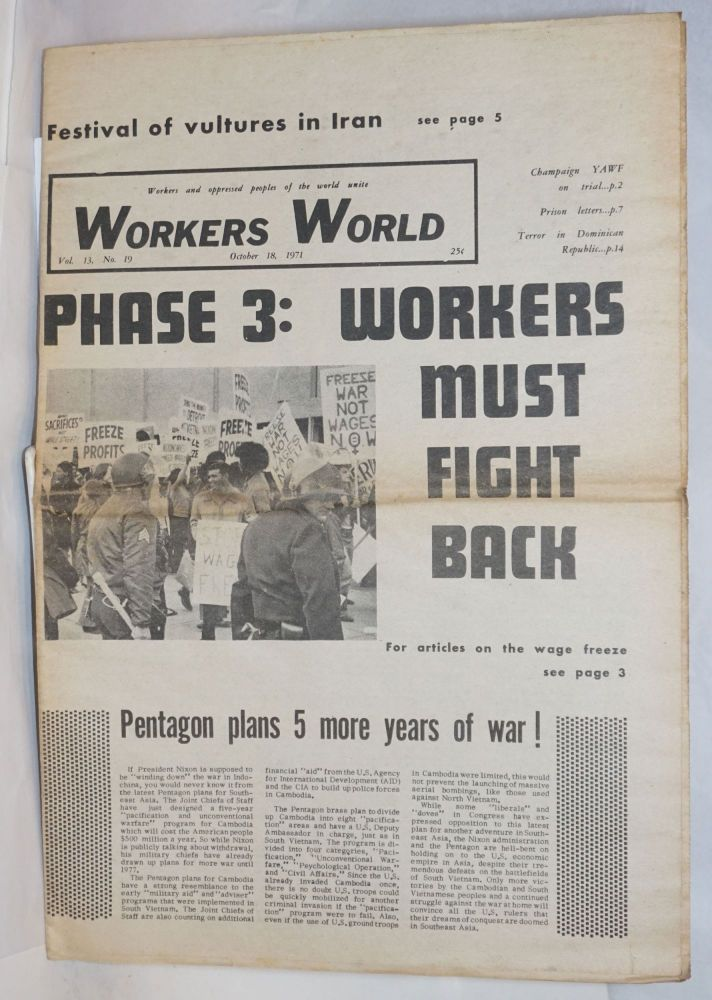 Workers World, Vol. 13, No. 19, Oct. 18, 1971. Naomi Cohen, Deirdre Griswold.