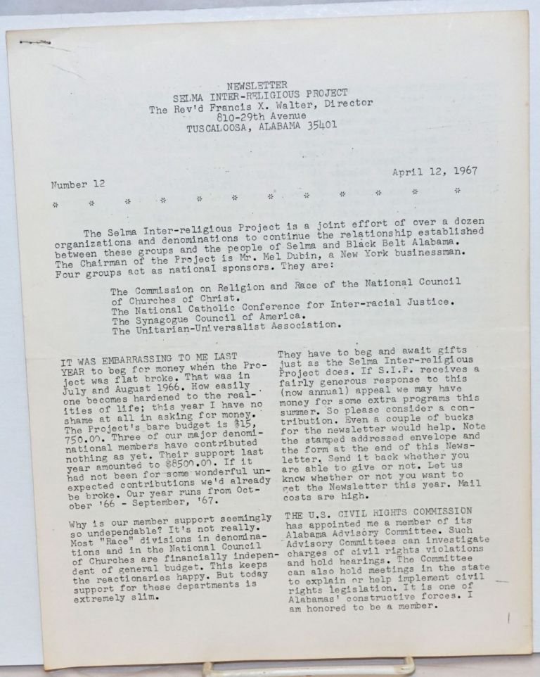 Newsletter Selma Inter-religious Project, no. 12, April 12, 1967. Francis X. Walter, ed.