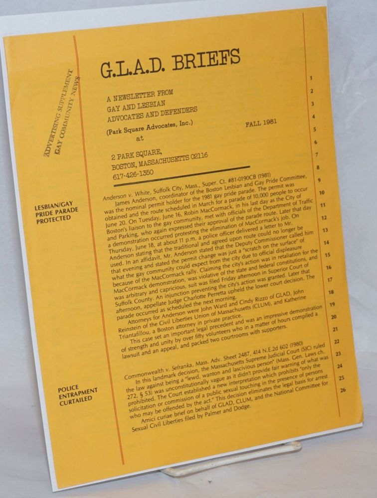 G.L.A.D. Briefs: a newsletter from Gay and Lesbian Advocates and Defenders Fall 1981