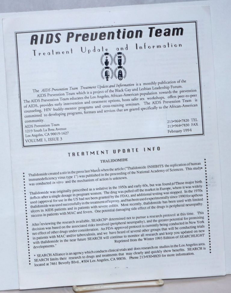 AIDS Prevention Team Treatment Update and Information: vol. 1, #3, February 1994; Thalidomide