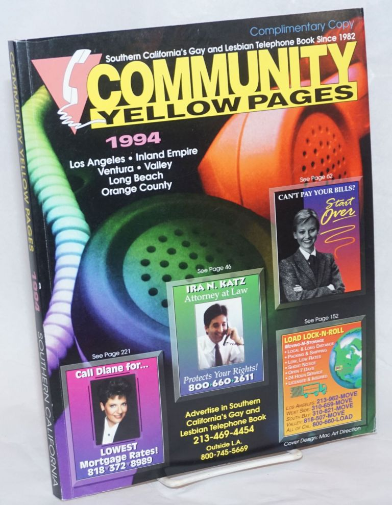 Community Yellow Pages: Southern California's lesbian & gay telephone book; 1994; Los Angeles, Inland Empire, Ventura, Valley, Long Beach, Orange County
