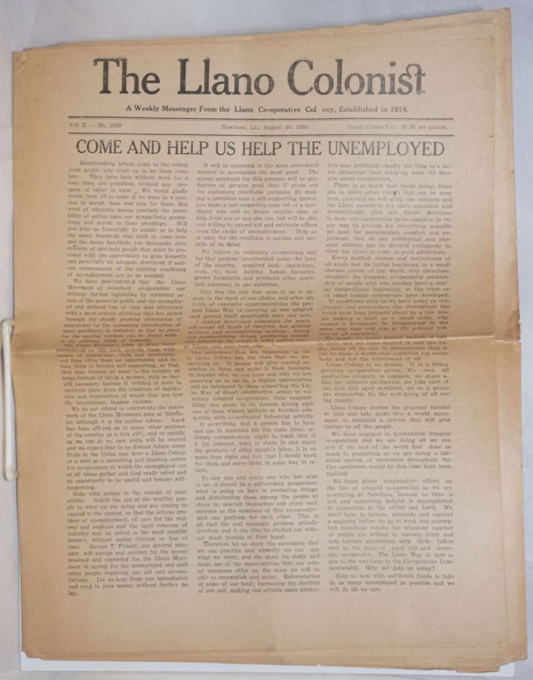The Llano Colonist, a weekly messenger from the Llano Co-operative Colony. Vol. 10, no. 1019, August 30, 1930. Carl Henry Gleeser, ed.