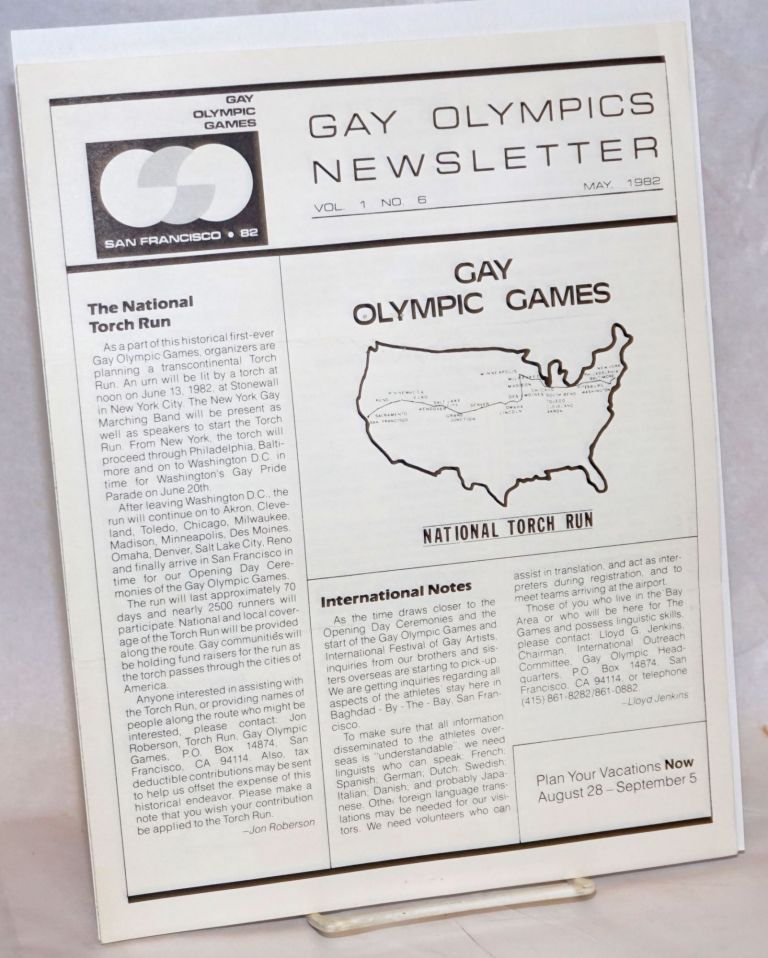 Gay Olympics Newsletter vol. 1, #6 & 8, May & July 1982 [two issues]