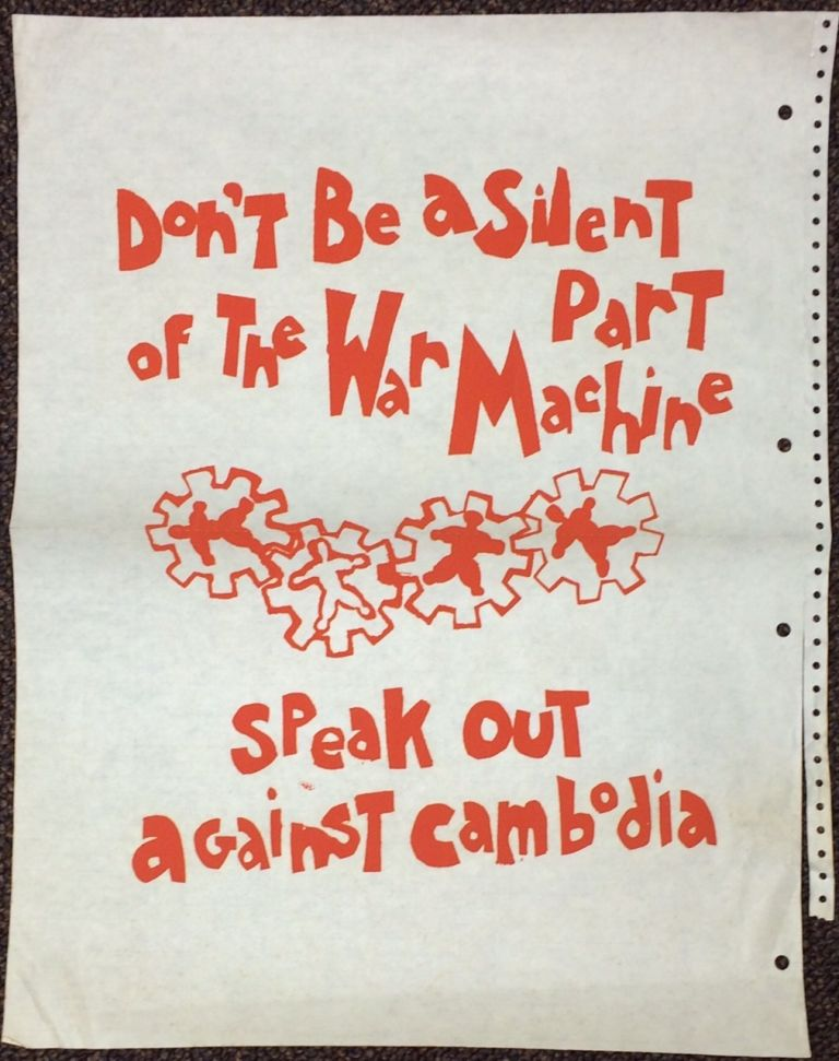 Don't be a silent part of the war machine  Speak out against Cambodia  poster on Bolerium Books