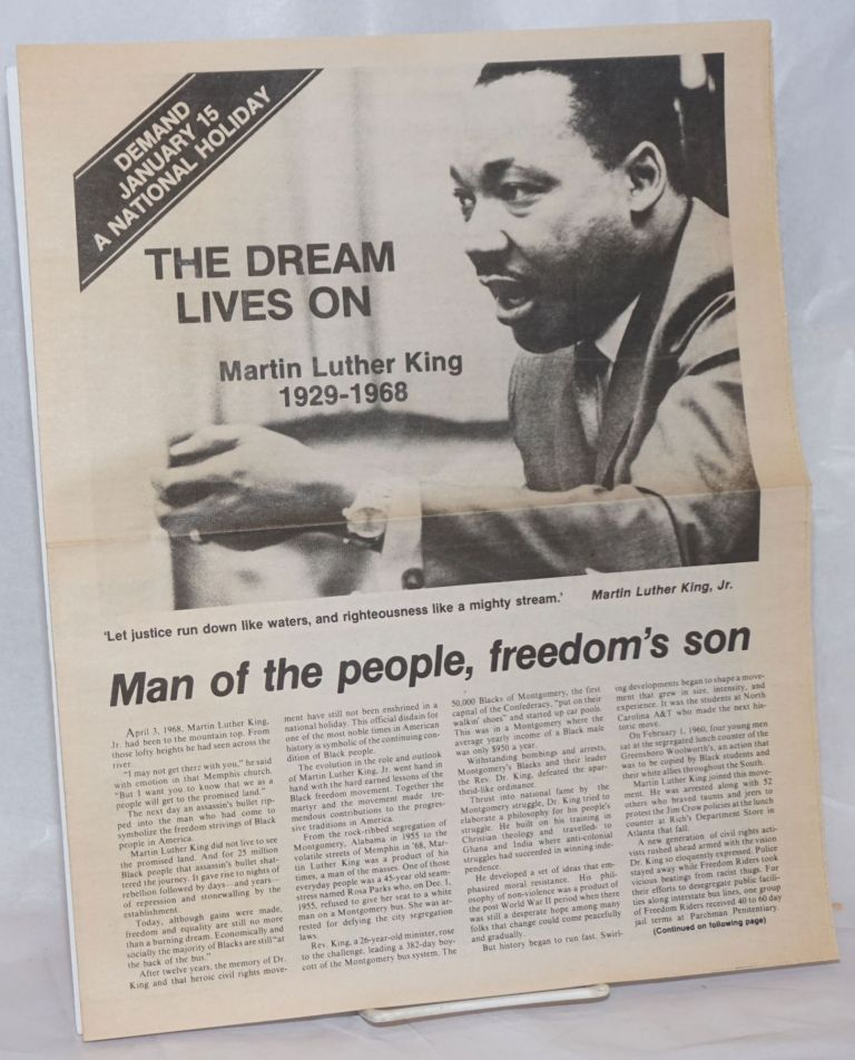 The dream lives on [Martin Luther King supplement to The Call newspaper, calling for January 15 to become a national holiday]