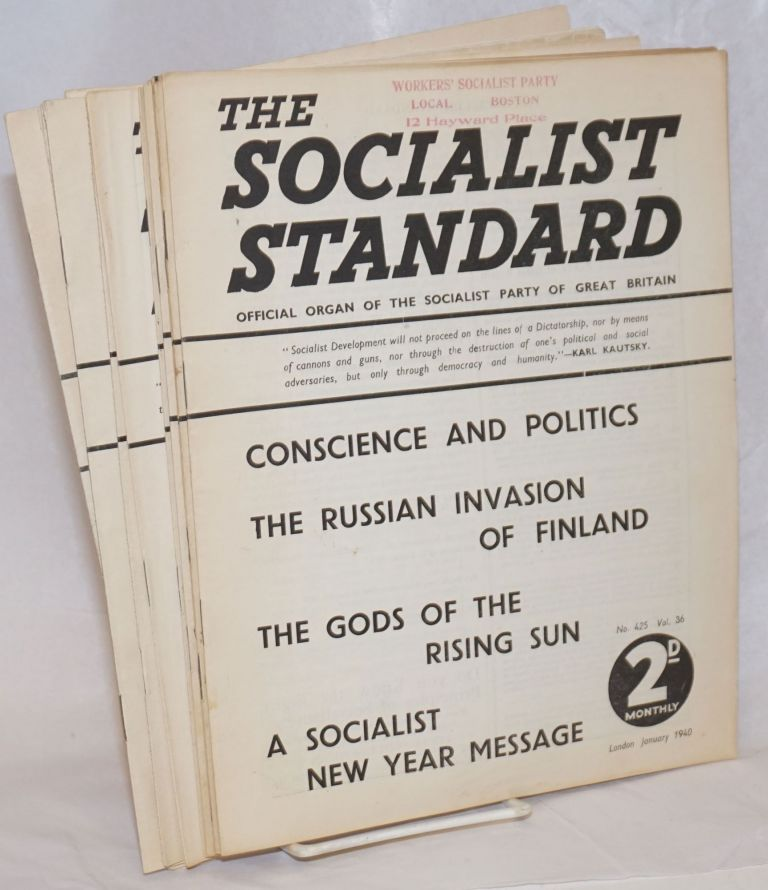 The Socialist Standard [12 issues] The Official Organ of the Socialist Party of Great Britain. Socialist Party of Great Britain.