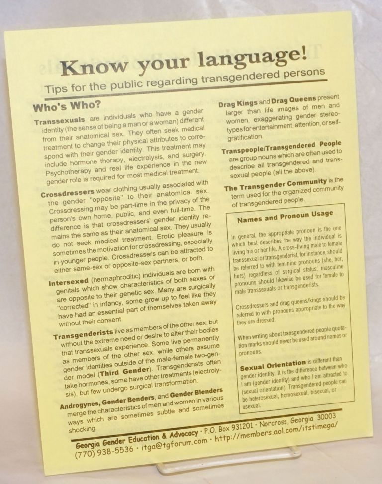 Know Your Language! tips for the public regarding transgendered persons [handbill]