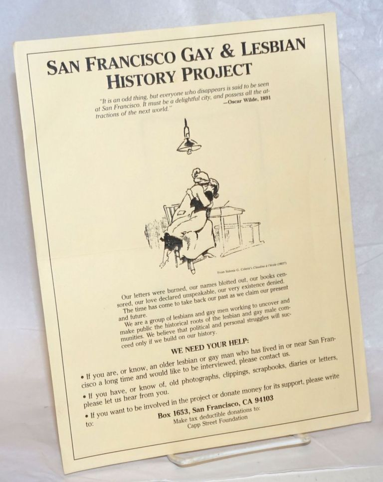 San Francisco Gay History Project [handbill]