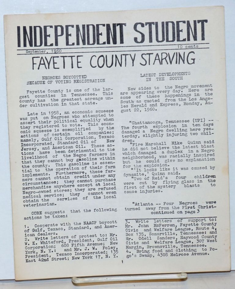 Independent Student. September 1960