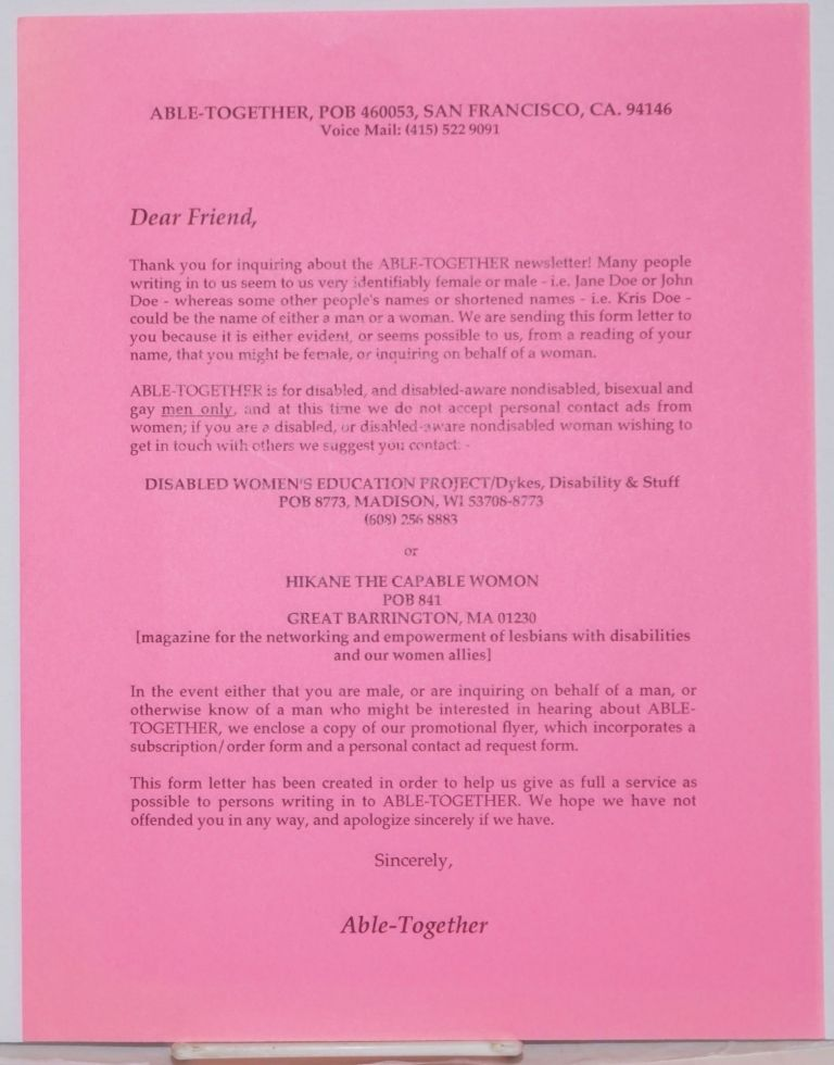 Able-Together Open Form Letter [handbill]