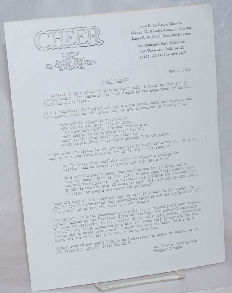 CHEER: Center of Homosexual Education & Research [open letter] Aging Project, April, 1978. Dr. Fred A. Minnigerode.