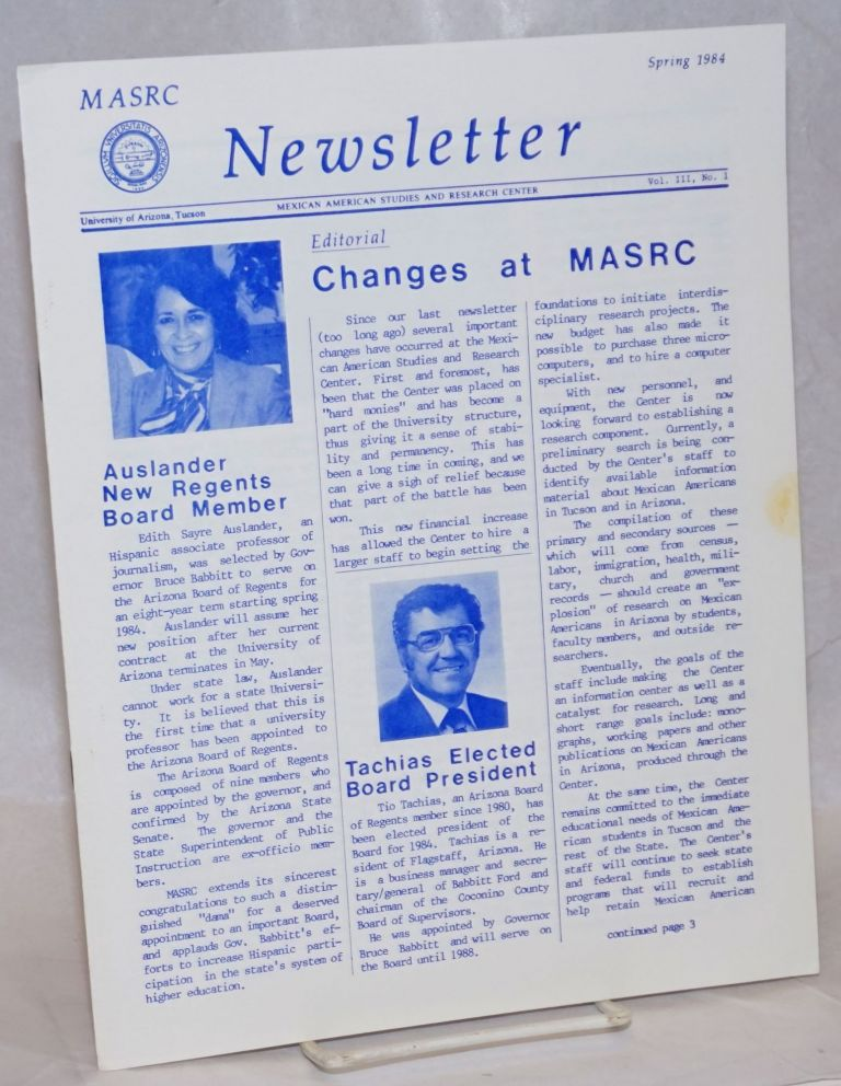 MASRC Newsletter: vol. 3, #1, Spring 1984