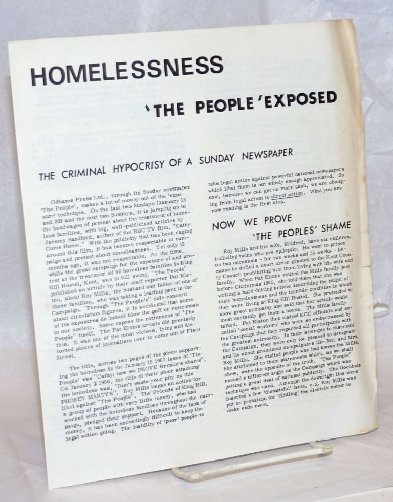Homelessness: 'The People' exposed. The criminal hypocrisy of a Sunday newspaper
