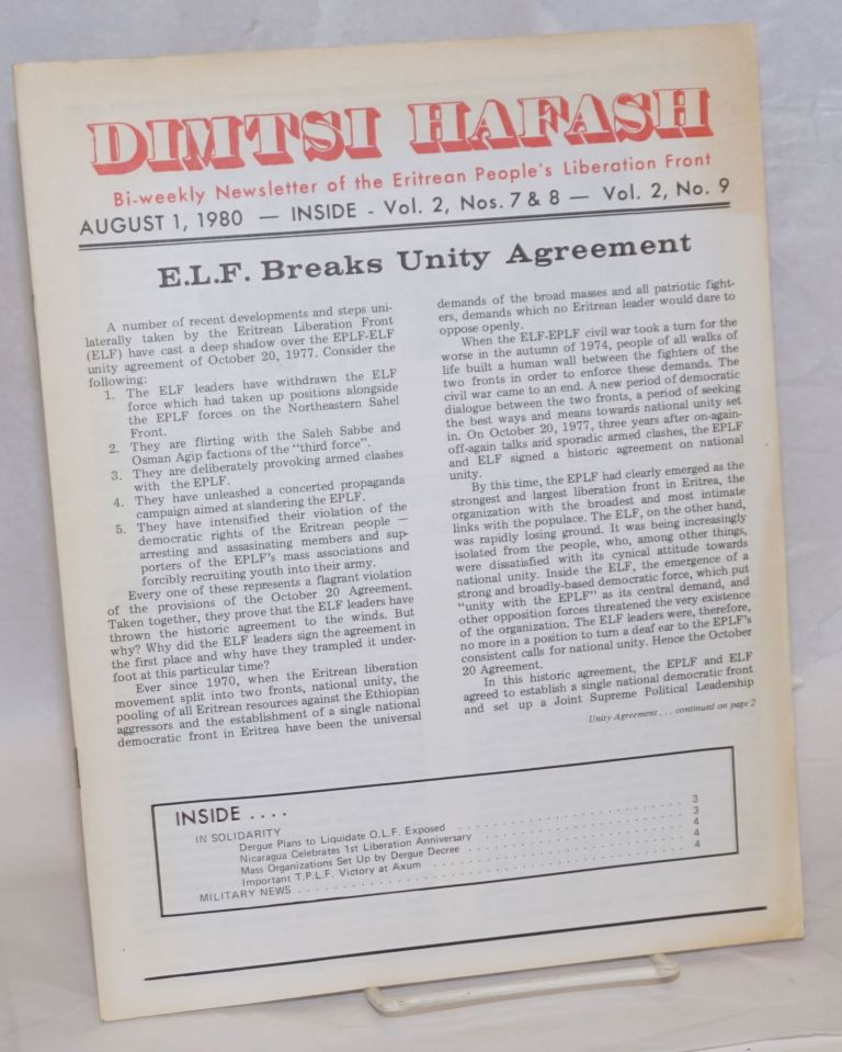 Dimtsi Hafash: bi-weekly newsletter of the Eritrean People's Liberation Front. Vol. 2, no. 7-8-9