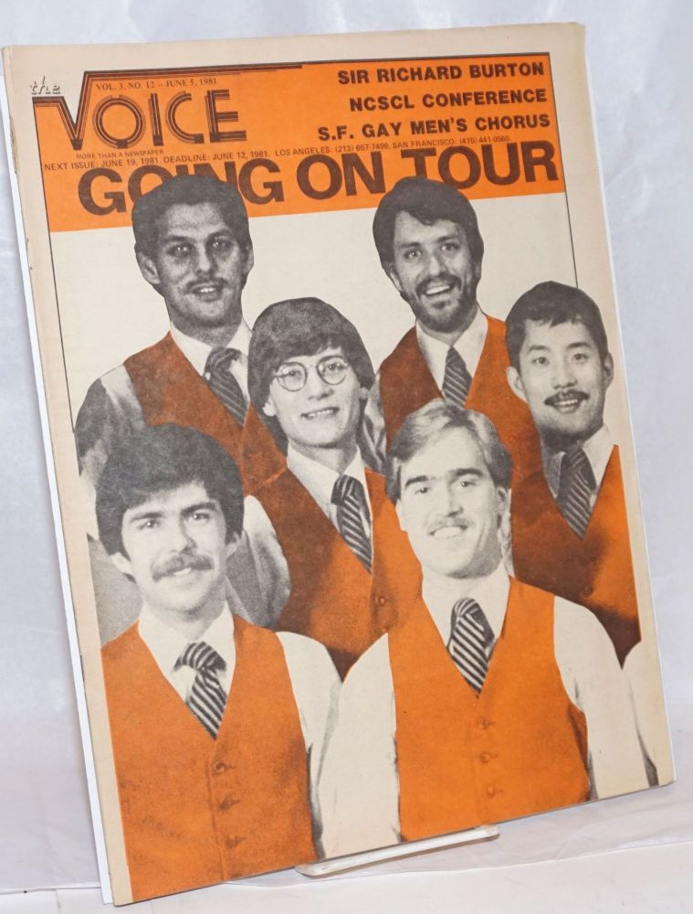 The Voice: more than a newspaper; vol. 3, #12, June 5, 1981; SF Gay Men's Chorus Going on Tour. Paul D. Hardman, James Baily Milton Marks, Donald McLean, Quentin Kopp.