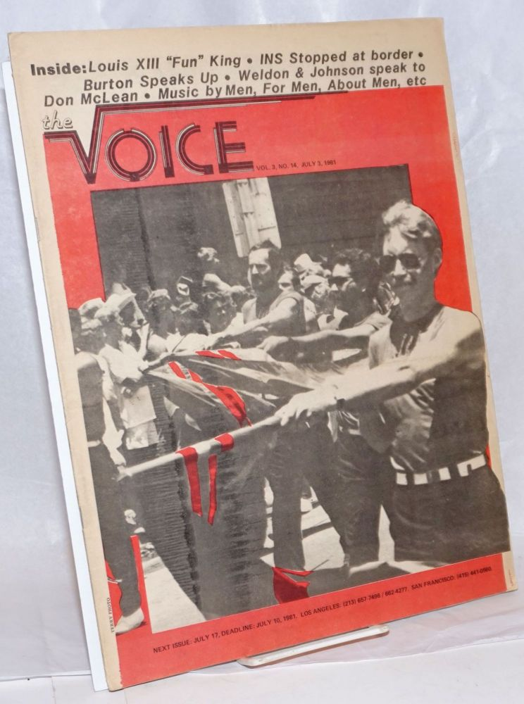 The Voice: more than a newspaper; vol. 3, #14, July 3, 1981; Gay Freedom Day cover photo. Paul D. Hardman, James Baily Milton Marks, Donald McLean, Quentin Kopp.