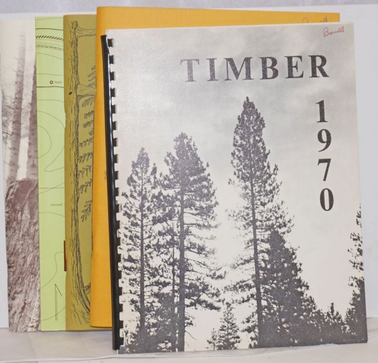 '70 Timber. Annual Publication of the Forestry Students of the University of California, Berkeley [with] Timber '77, Vol. 21 [with] Timber '78 [with] Timber 1997 [5 unduplicated items]. Ron Wakimoto, sometime, Erin Hopson.