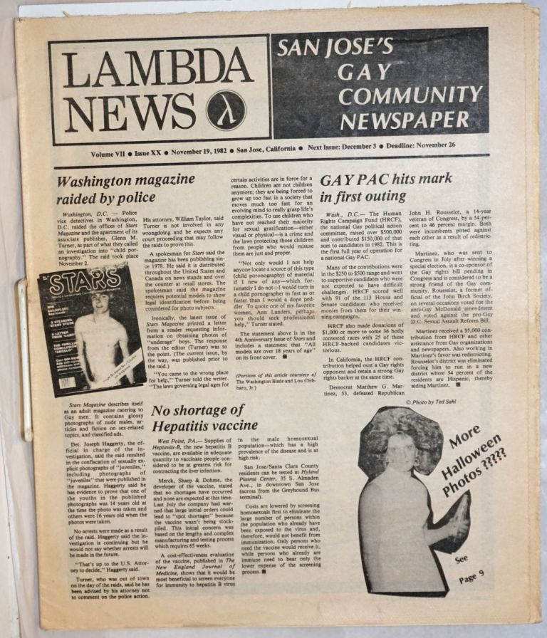 Lambda News: San Jose's gay Community Newspaper; vol. 7, #20, November 19 1982; Washington Magazine raided by Police. Dan Relic, Rosalie Nichols, Ted Sahl Robert Kelley.