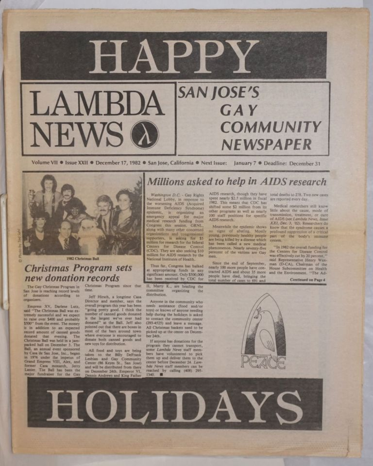 Lambda News: San Jose's gay Community Newspaper; vol. 7, #22, December 17 1982; Millions asked to help in AIDS research. Dan Relic, Rosalie Nichols, Ted Sahl.