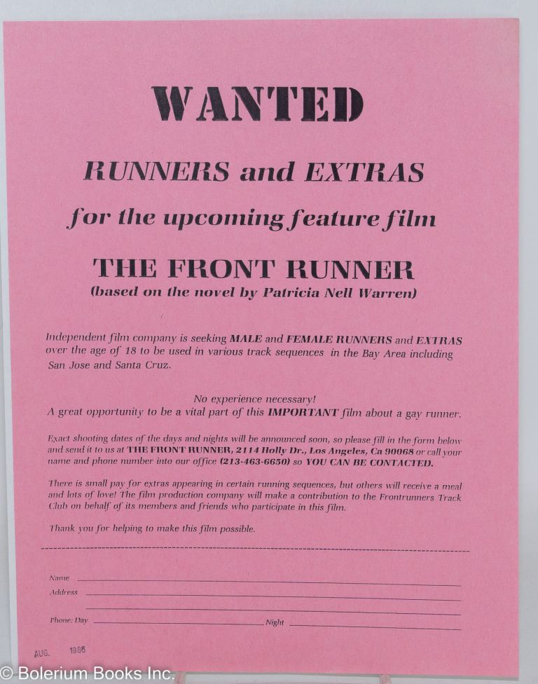 """Wanted: Runners and extras for the upcoming feature film """"The Front Runner"""" (based on the novel by Patricia Nell Warren) [handbill]"""