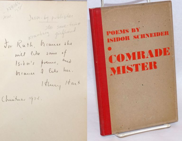 Comrade: mister, poems. Two pen drawings by Gyula Zilzer. Isidor Schneider.