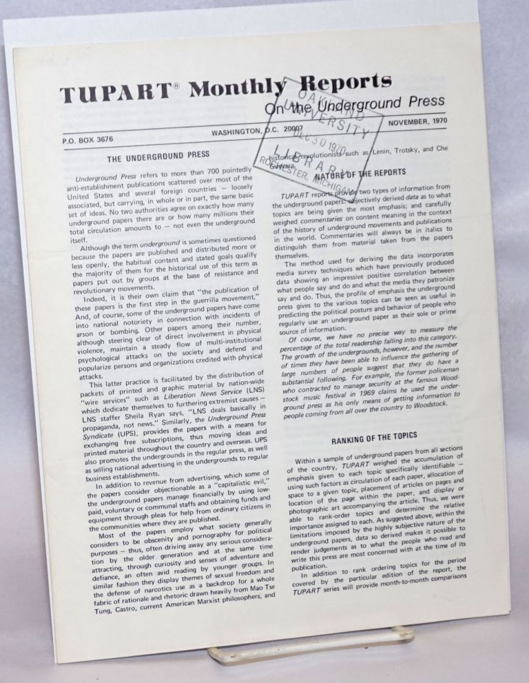 TUPART monthly reports on the underground press. Vol. 1 no. 1 (Nov. 1970)