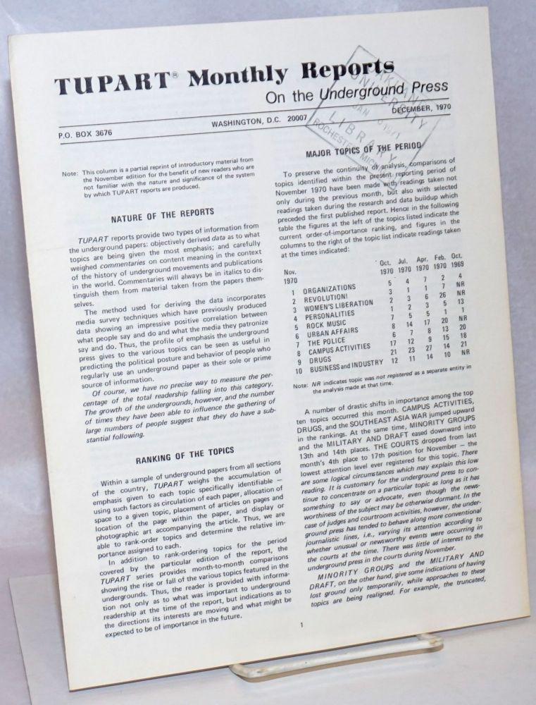 TUPART monthly reports on the underground press. Vol. 1 no. 2(Dec. 1970)