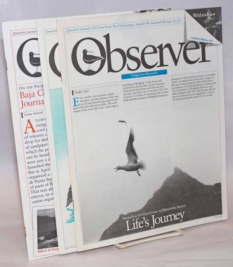 Observer: Quarterly Journal of the Point Reyes Bird Observatory [3 Issues]. Susan Claire Peaslee.