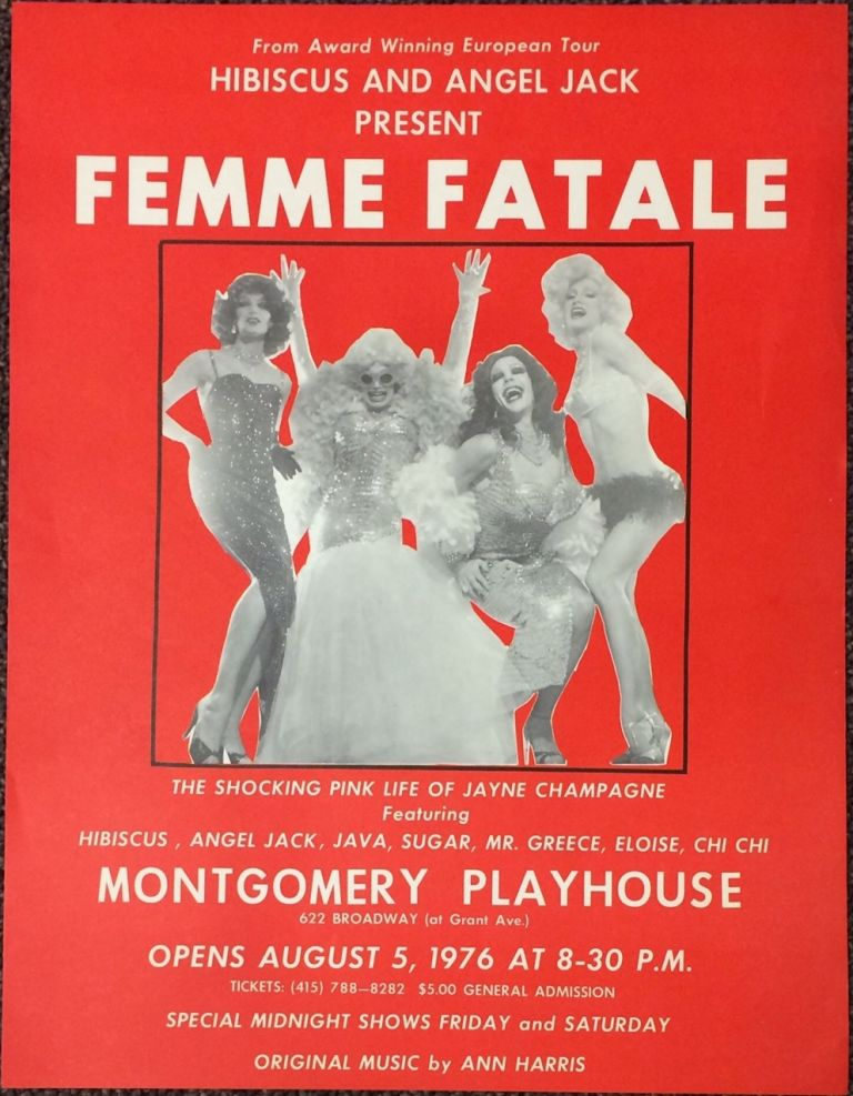 """Hibiscus and Angel Jack present """"Femme Fatale"""" / The shocking pink life of Jayne Champagne [poster]"""