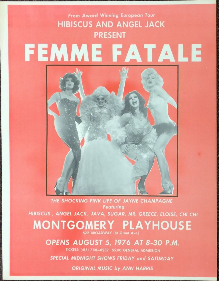 "Hibiscus and Angel Jack present ""Femme Fatale"" / The shocking pink life of Jayne Champagne [poster]"