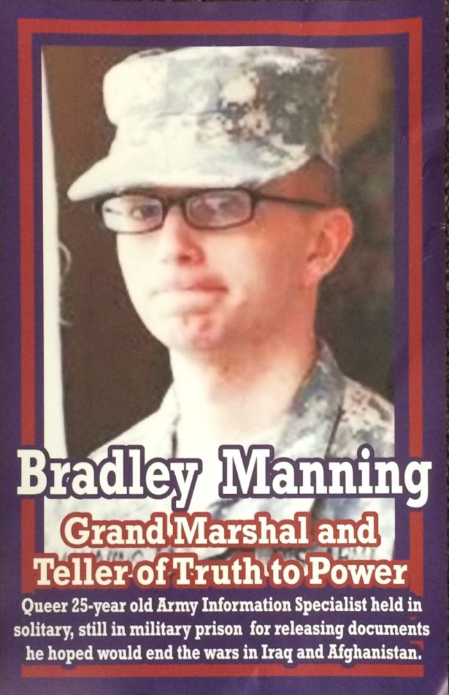 Bradley Manning, Grand Marshal and Teller of Truth to Power / James Baldwin, Black Gay American Social Critic on Hoover's FBI Hate-list [double-sided poster]. Chelsea Manning, James Baldwin.