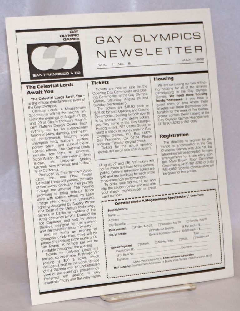 Gay Olympics Newsletter vol. 1, #8, July 1982