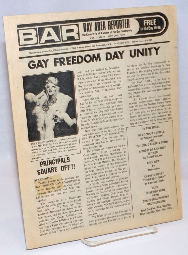 B.A.R. Bay Area Reporter: the catalyst for all factions of the gay community; vol. 3, #9, May 2, 1973: Gay Freedom Day Unity. Craig Russell Beardemphl, Luscious Lorelei, Donald McLean.