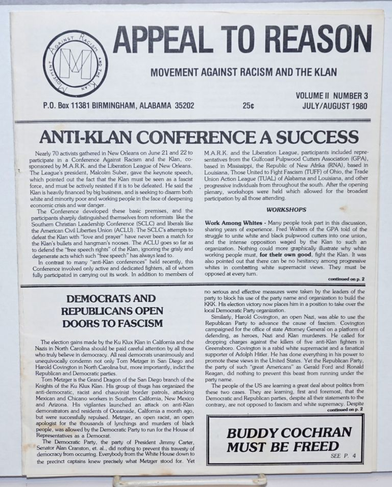 Appeal to reason, vol. 2, no. 3, July/August 1980. Movement Against Racism, the Klan.