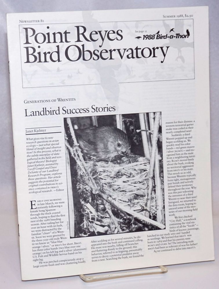 Point Reyes Bird Observatory. Newsletter 81, Summer 1988. Susan Peaslee.
