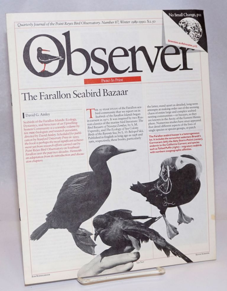 Observer: Quarterly Journal of the Point Reyes Bird Observatory; Number 87, Winter 1989-1990. Susan Claire Peaslee.