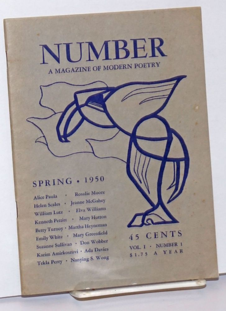 Number: a magazine of modern poetry;* vol. I, number 1