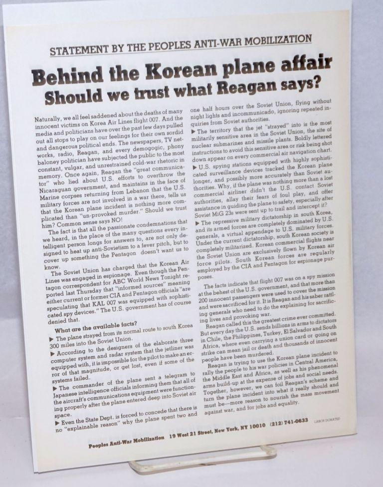 Behind the Korean plane affair: Should we trust what Reagan says? [handbill]