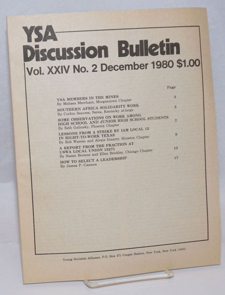YSA Discussion Bulletin, Volume 24, No. 2, December 1980. Young Socialist Alliance.