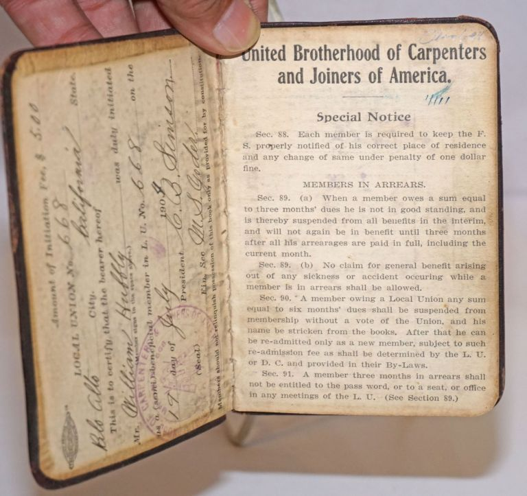 [Membership booklet of William Hubbley, Palo Alto]. United Brotherhood of Carpenters, Joiners of America.