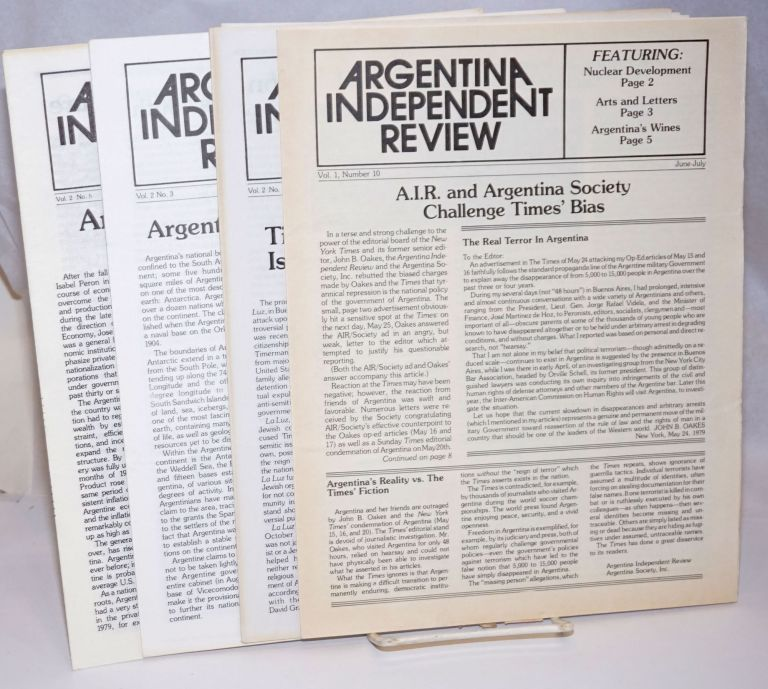 Argentina Independent Review [4 issues]. Argentina Society
