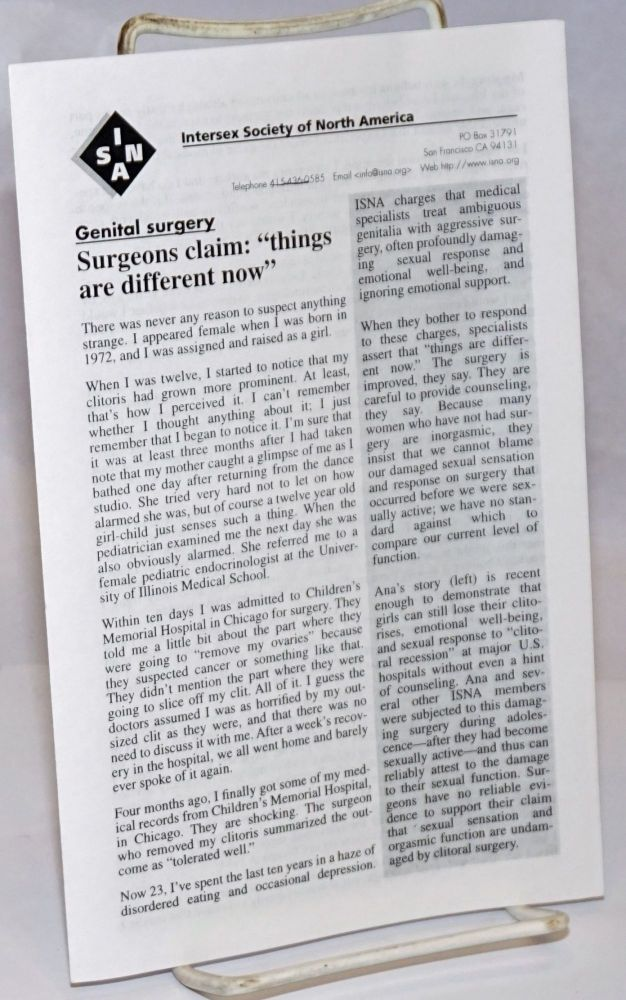 Genital Surgery [pamphlet]. Intersex Society of North America.