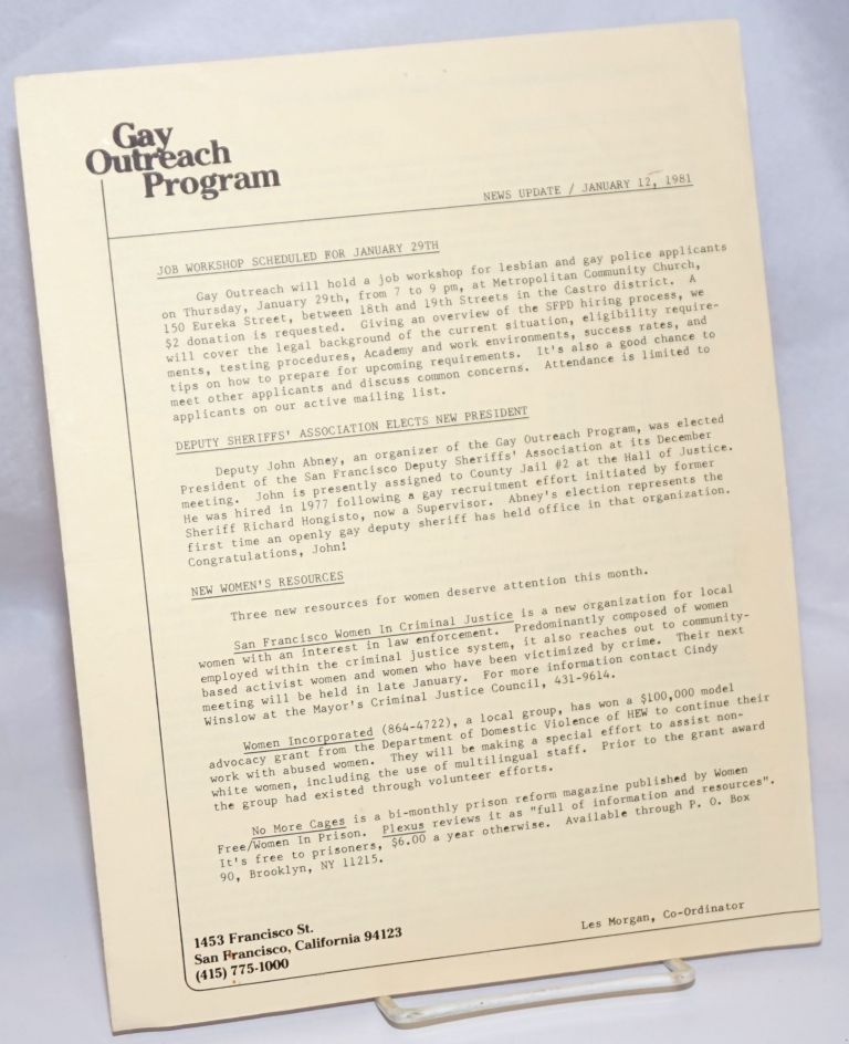 Gay Outreach Program Newsletter News Update january 12, 1981