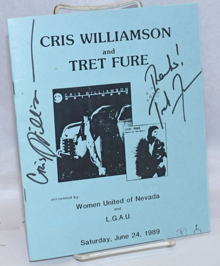 Cris Williamson and Tret Fure presented by Women United of Nevada and L.G.A.U. [program signed by both]