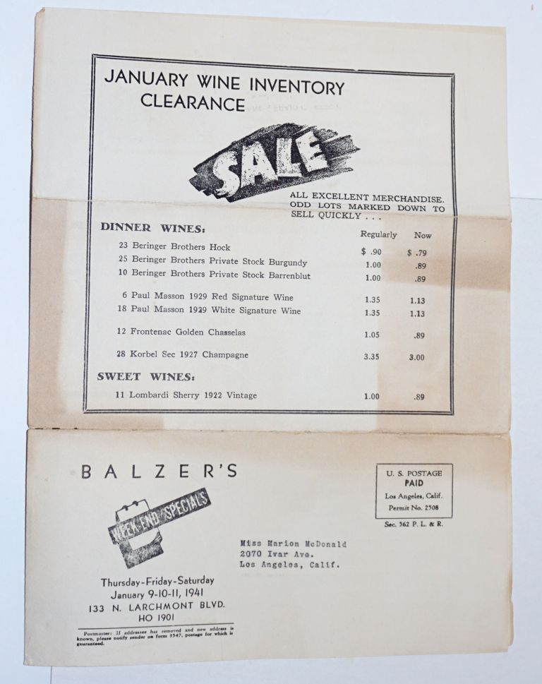 Balzer's Fine Foods. Established 1923. Week-End Specials. 1941 Annual January Sale of Hunt's Supreme Canned Goods. January Wine Inventory Clearance. SALE: all excellent merchandise. Odd lots marked down to sell quickly. Robert L. Balzer, proprietor.